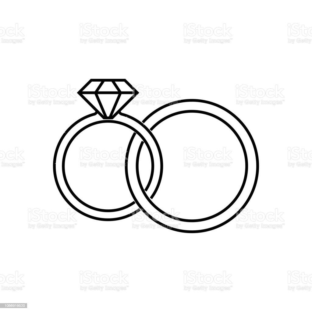 Vetores De Anéis De Casamento Ícone Linear Ilustração De