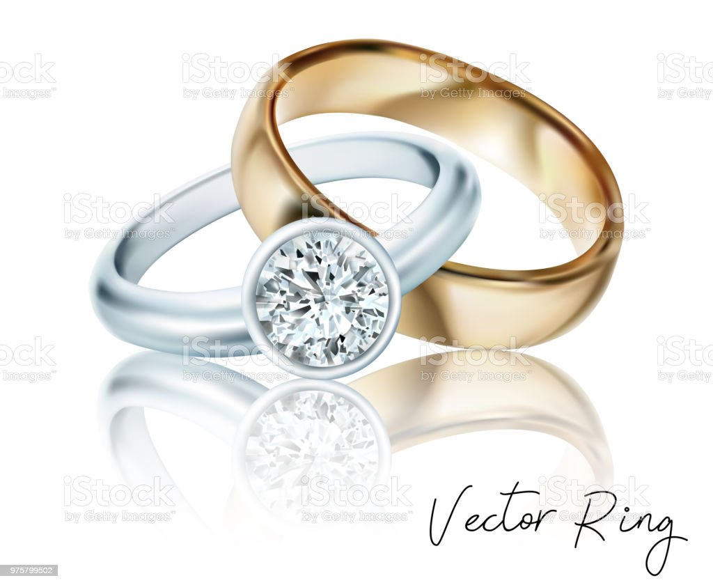 Wedding Rings Of Gold Silver Palladium Metal With Diamonds Zircons