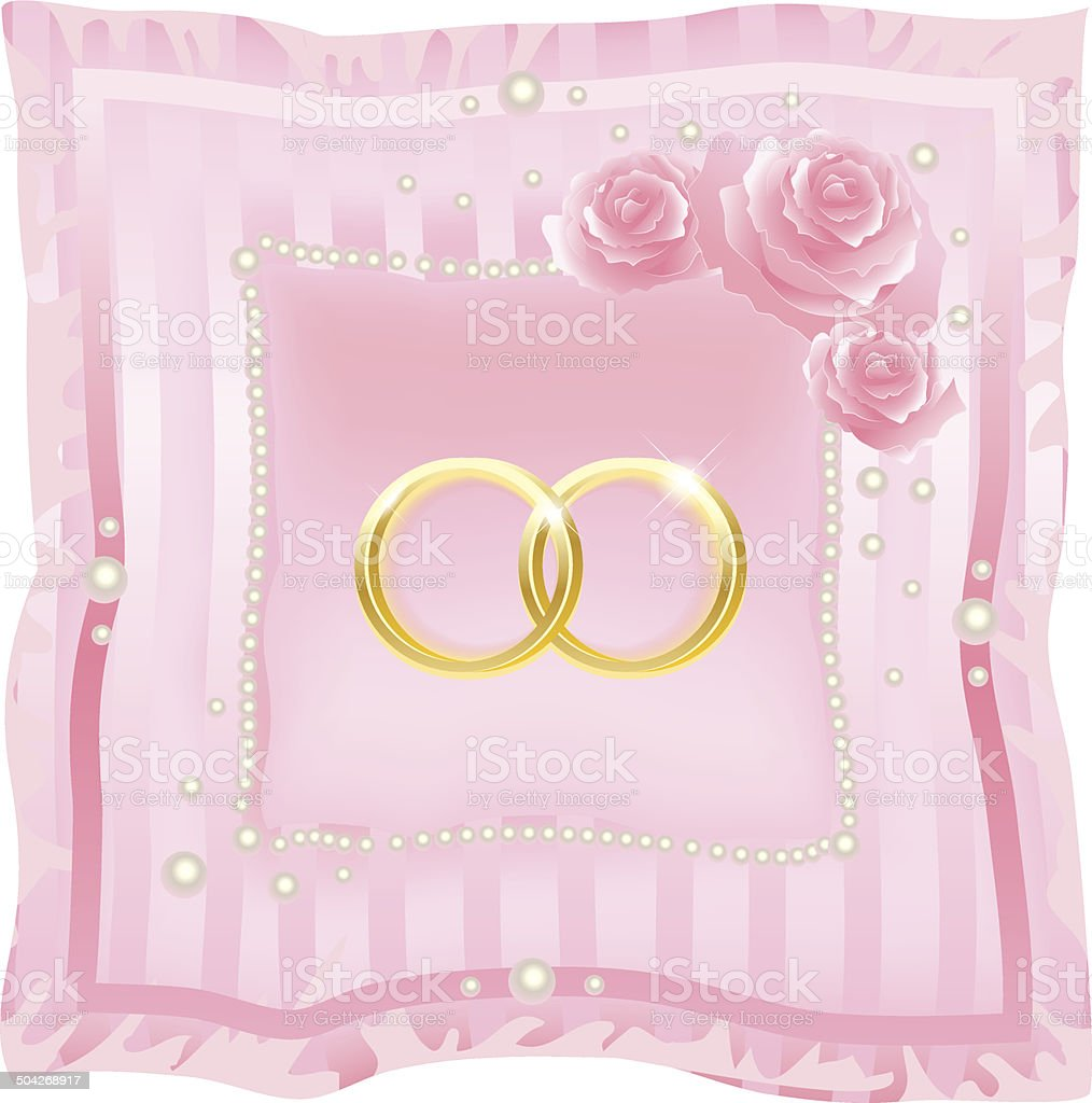 Wedding Rings On A Pink Background stock vector art 504268917 | iStock