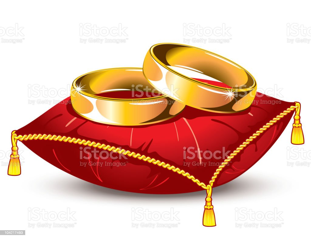 wedding rings on red pillow royalty-free stock vector art