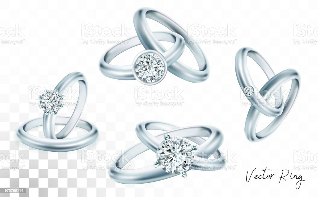 Wedding Rings Set Of Silver Palladium Metal With Diamonds Zircons