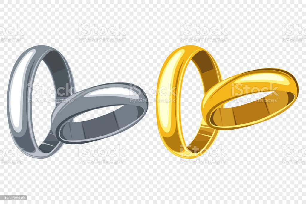 Wedding Rings Set Vector Cartoon Illustration Of Gold And Silver