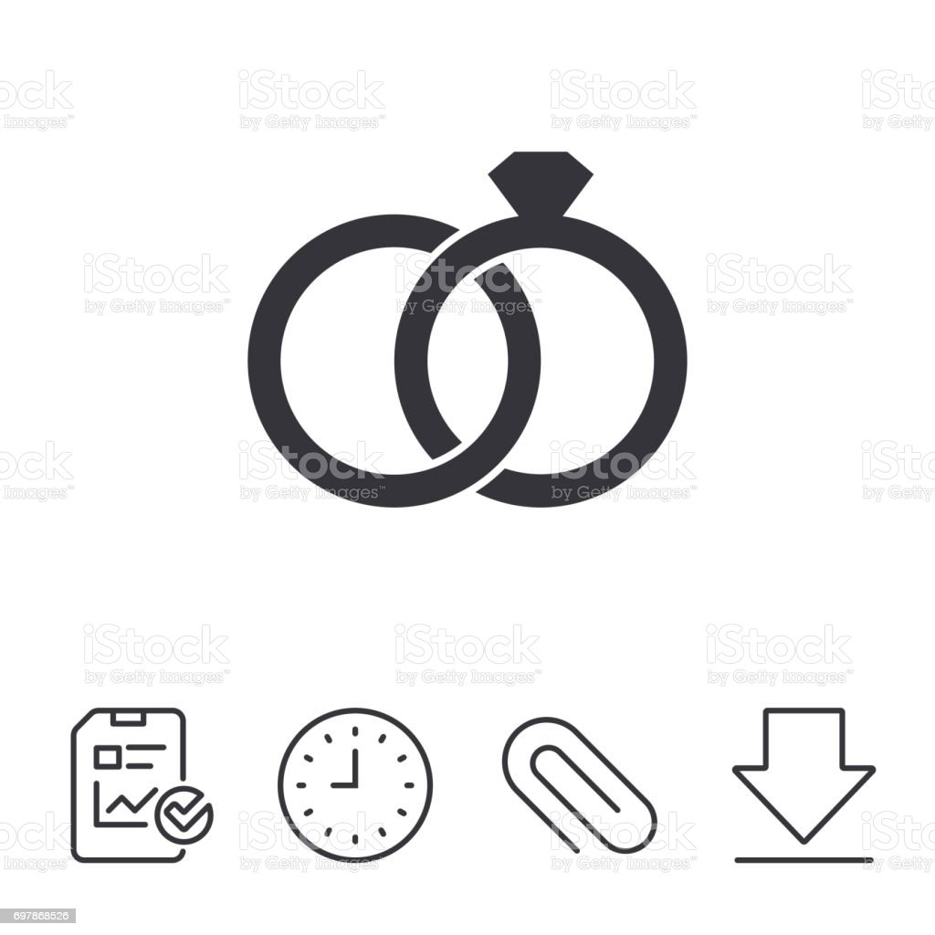 Wedding rings sign icon. Engagement symbol. vector art illustration