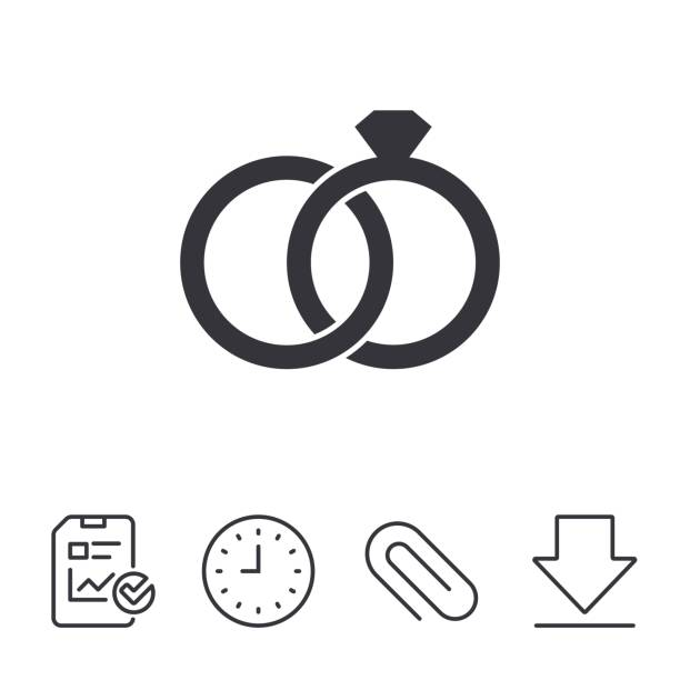 wedding rings sign icon. engagement symbol. - marriage stock illustrations