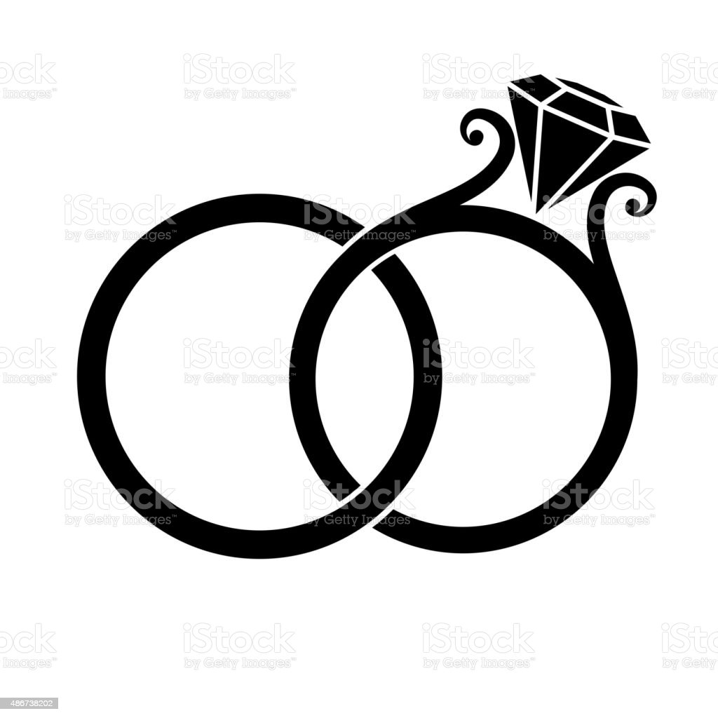 Wedding Rings Silhouette vector art illustration
