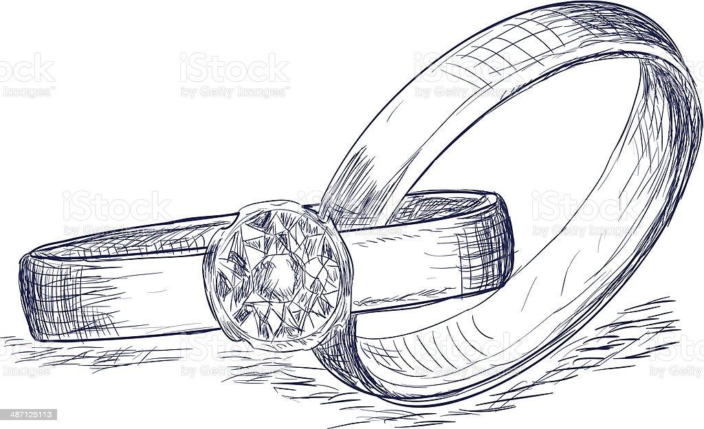 Wedding rings sketch vector art illustration