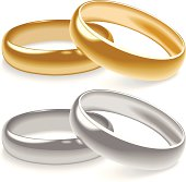 Illustration of Yellow Gold and White Gold Wedding Rings (Pdf(6) and Ai(8) files are included)