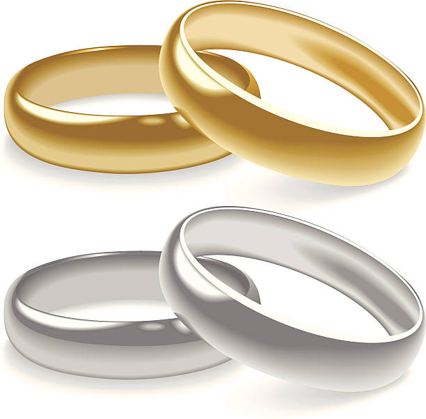 illustrations, cliparts, dessins animés et icônes de anneaux de mariage - bague