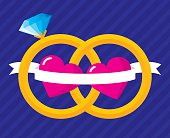 Vector illustration of two flat style wedding rings interlocked with hearts and a banner running between the two.