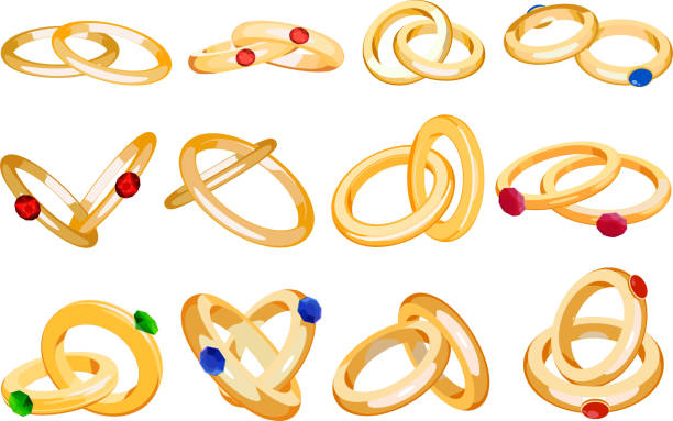 trauringe vektor einstellen engagement symbol gold silberschmuck für vorschlag ehe mi zeichen mich beschriftung abbildung isoliert auf weißem hintergrund heiraten - clipart goldene hochzeit stock-grafiken, -clipart, -cartoons und -symbole