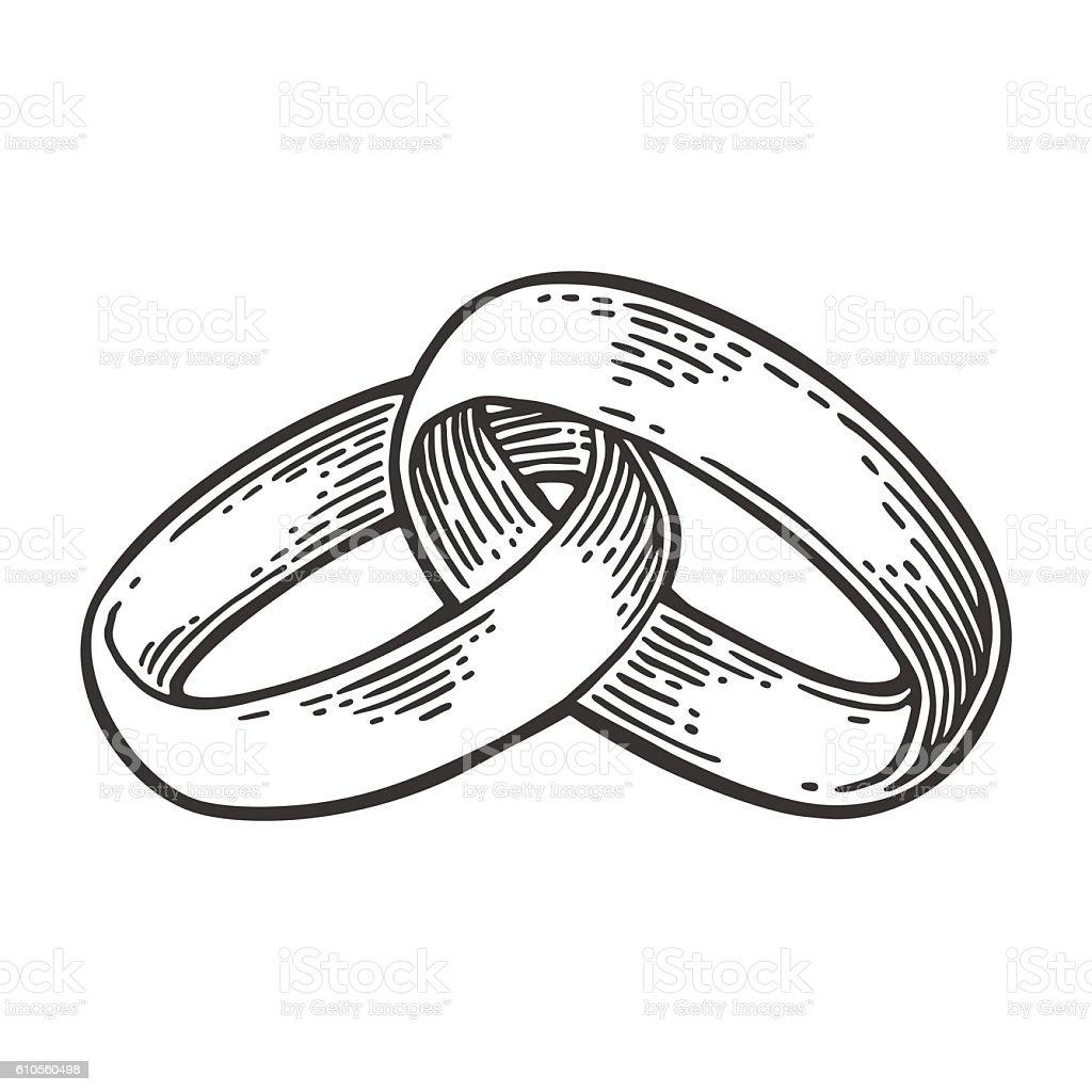 Wedding rings. Vintage black vector engraving illustration vector art illustration