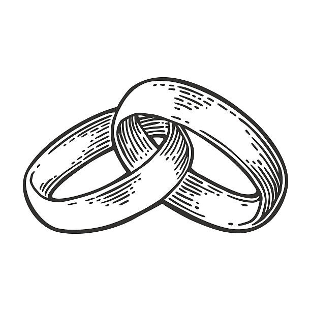 wedding rings. vintage black vector engraving illustration - clipart goldene hochzeit stock-grafiken, -clipart, -cartoons und -symbole