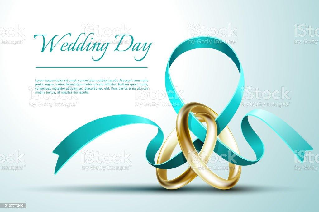 Wedding rings with ribbon invitation card vector template stock wedding rings with ribbon invitation card vector template royalty free wedding rings with ribbon invitation stopboris Image collections