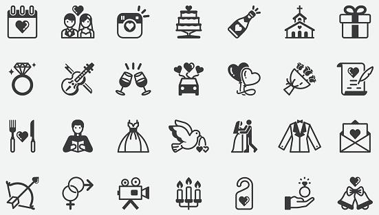 Wedding Romantic Concept Icons