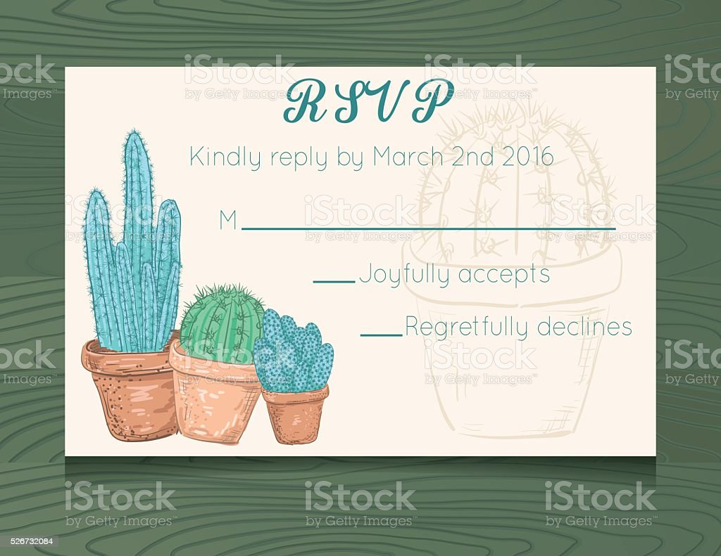 wedding rsvp card template with cactus on wood background stock