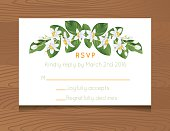 Wedding RSVP Card Template. Wooden background with wedding RSVP card. Decorated with oranges and orange blossoms and leaves.