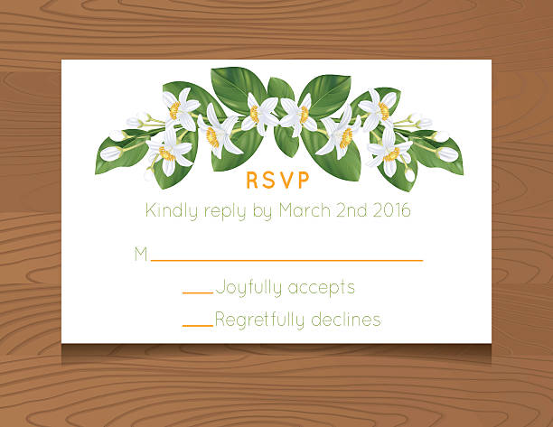 wedding rsvp card template with oranges on wood background stock