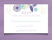 Wedding RSVP Card  Template. Wooden background with  RSVP card. Decorated with floral designs.