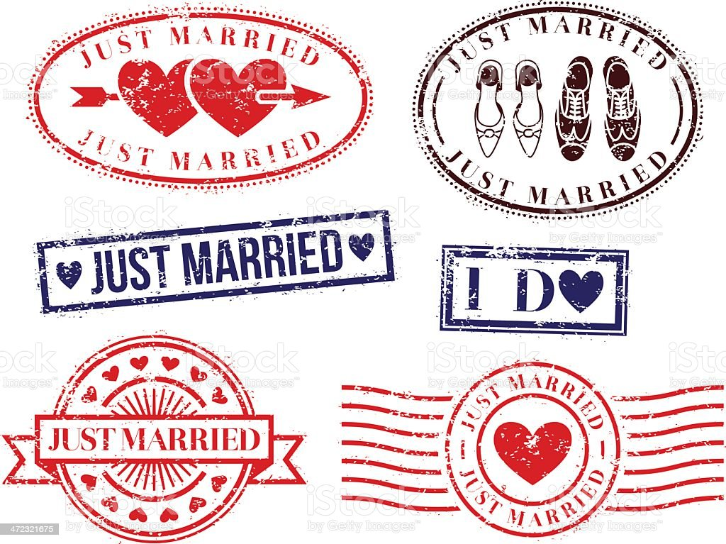 Wedding rubber stamps vector art illustration