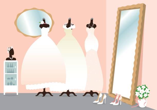 wedding salon - rosenhochzeitskleider stock-grafiken, -clipart, -cartoons und -symbole
