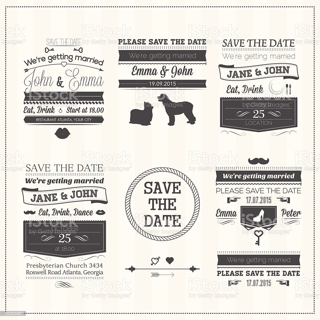 Wedding save the date cards set royalty-free stock vector art