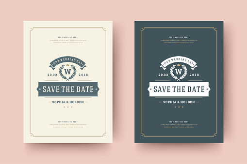 Wedding save the date invitation card vector illustration