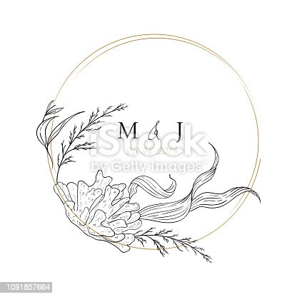 istock Wedding sea invitation; sketched floral branches, coral, algae, gold geometric ring, initials. Navy background. Nautical art. Marine wedding style. Flourishes ring & wreath. 1091857664