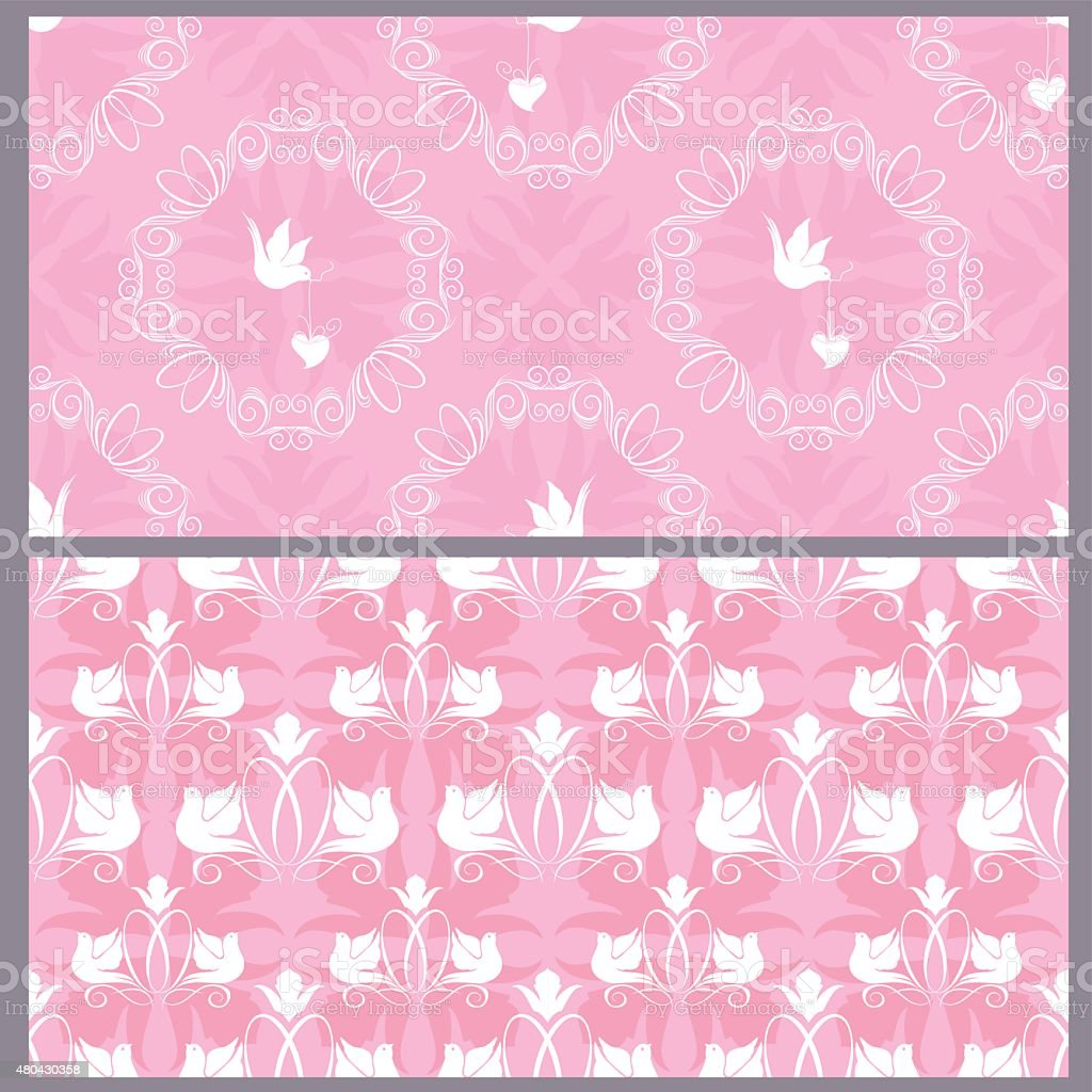 Wedding Seamless Pattern Floral Ornament With Rings And Doves Stock ...