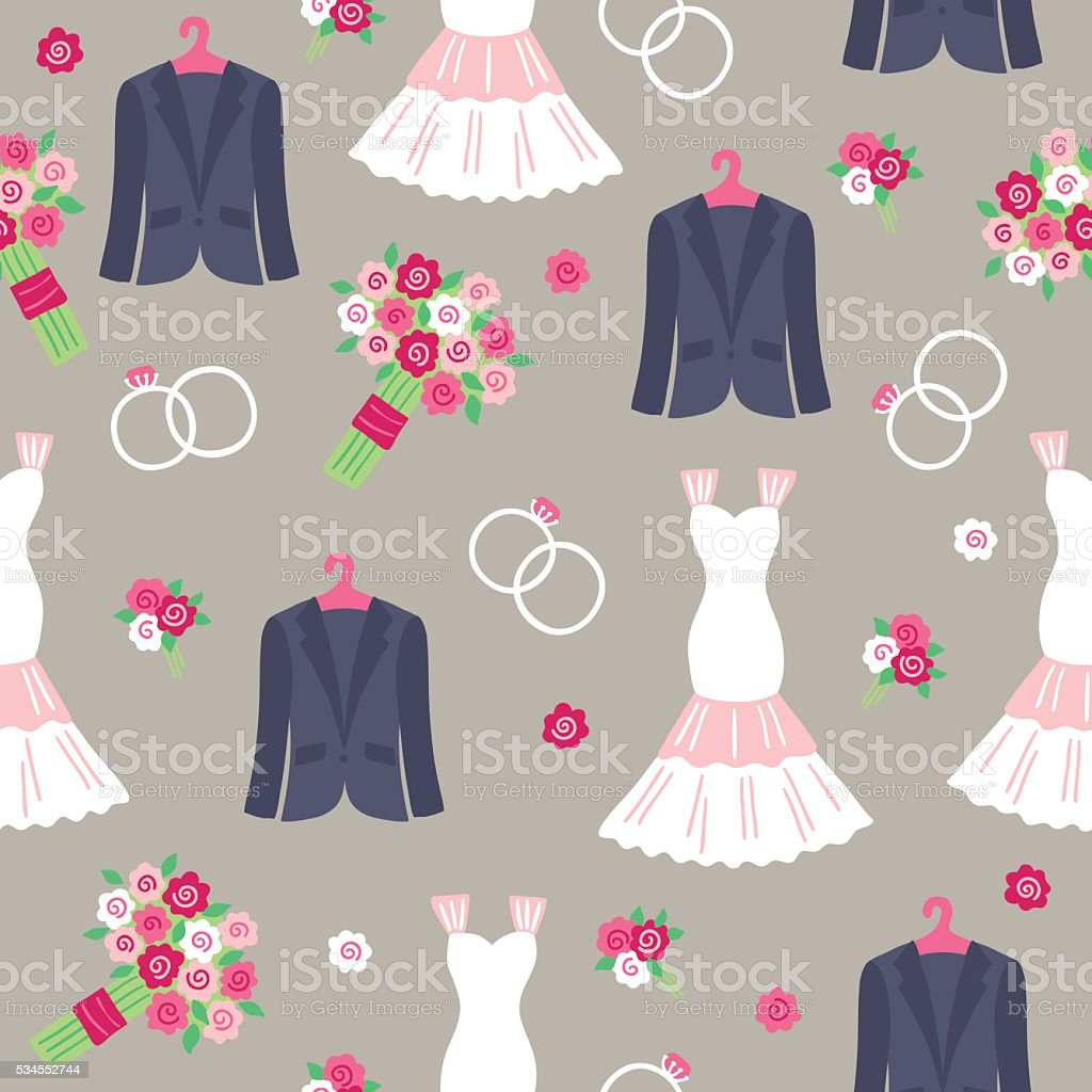 Wedding seamless pattern with smoking, rings, boutonniere, bouquet, wedding dress vector art illustration