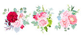 Wedding seasonal flowers vector design bouquets. Rose, dahlia, orchid, hydrangea, camellia, ranunculus, succulent, eucalyptus. Floral border composition.All elements are isolated and editable
