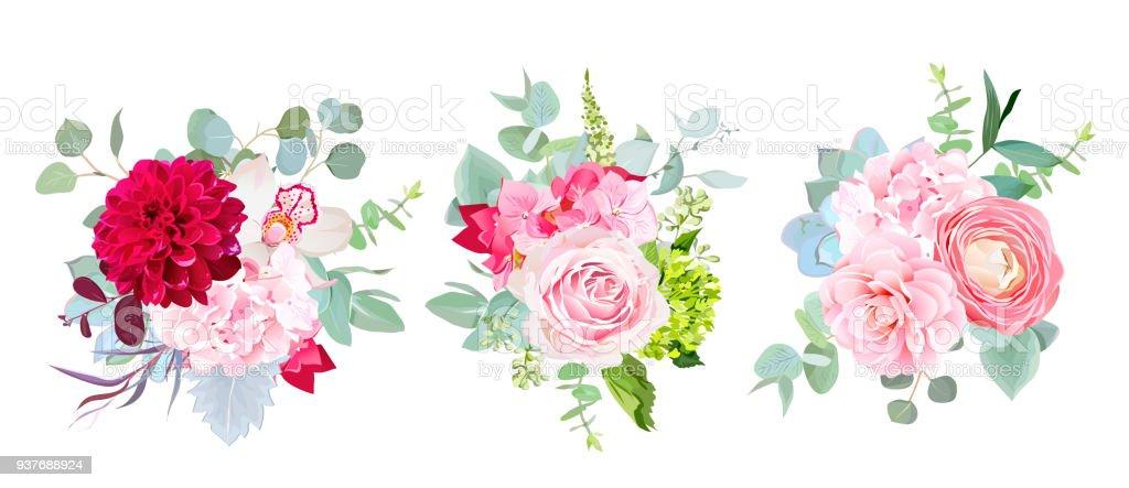 Vector de flores de temporada boda Ramos de diseño - ilustración de arte vectorial