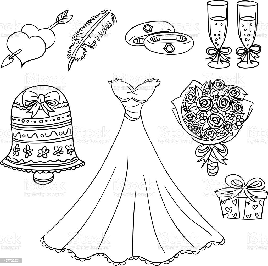 Wedding series in black and white royalty-free stock vector art