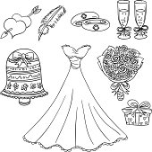 Sketch Drawing of wedding elements in black and white.