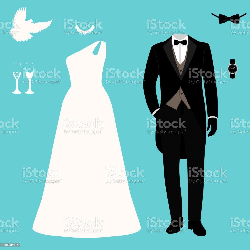 Wedding Set Beautiful Wedding Dress And Tuxedo Stock Vector Art ...
