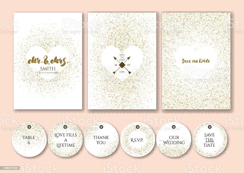 Wedding set cards and tags with abstract golden confetti backgrounds. vector art illustration