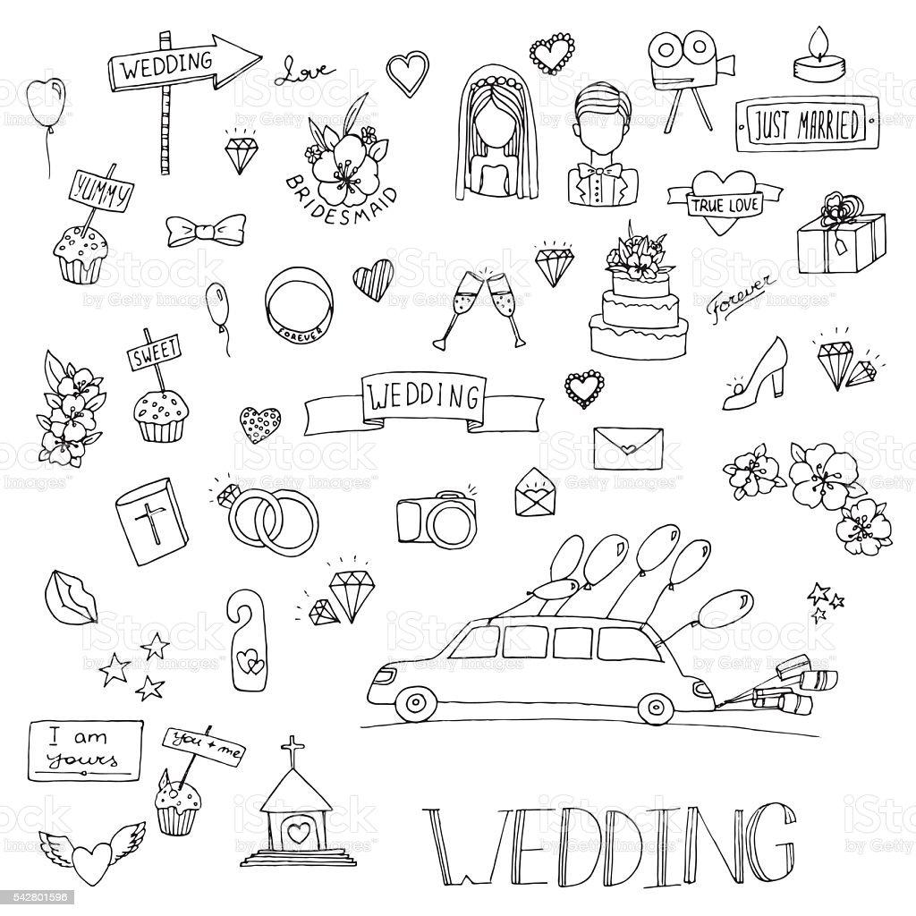 Wedding Set Icon Stock Vektor Art Und Mehr Bilder Von Ausmalen