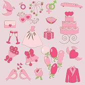 set of gentle wedding icons