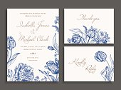 Vintage wedding set with spring flowers in blue. Wedding invitation, thank you card. RSVP card. Parrot tulips, daisies, forget-me. Botany. Vector illustration.