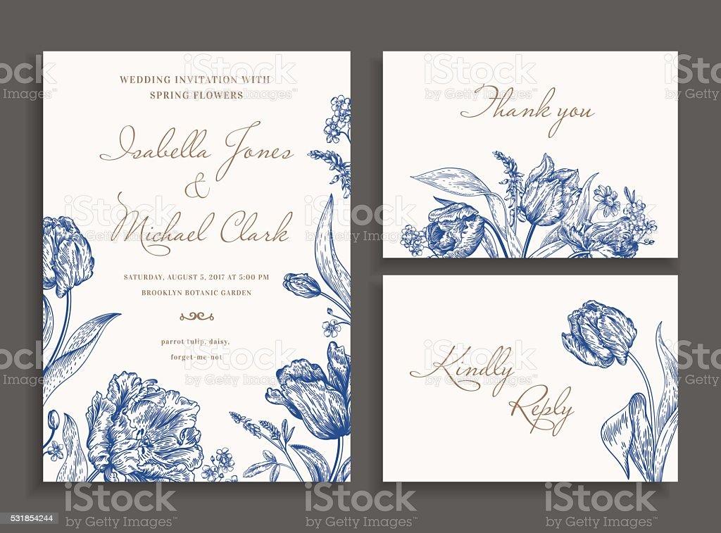 Casamento com flores da primavera. - ilustração de arte em vetor