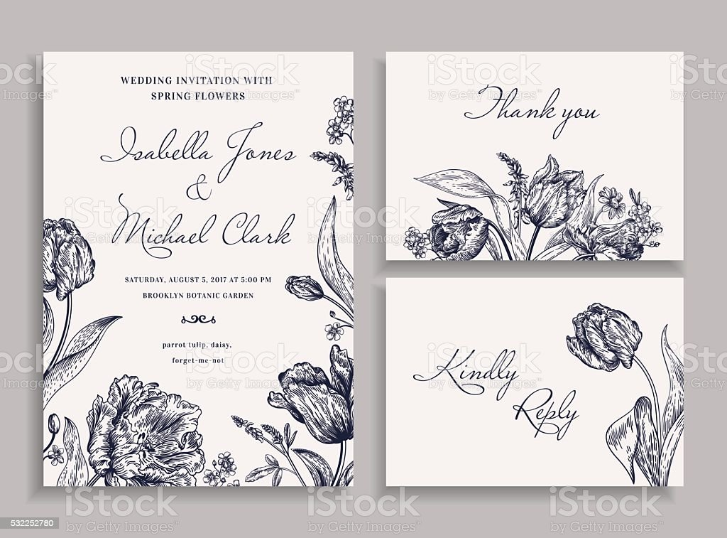 Wedding set with spring flowers. vector art illustration