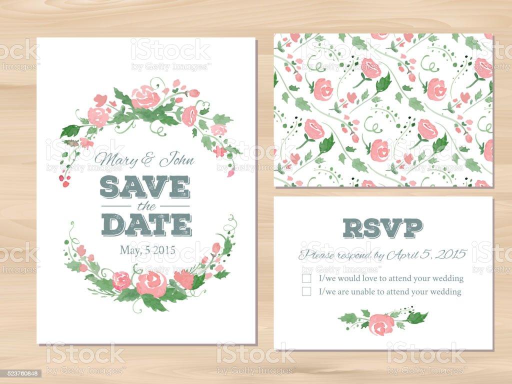 Hochzeit Satz Mit Aquarell Blumen Und Typografischen Elementen