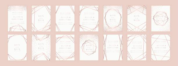 Wedding set2 [Converted] Vector marble modern wedding invitation templates set. Geometric frame with space for text.Luxury classy Rose Gold design.Pink brochure, flyer, cover, poster, card, logo, business identity style. weddings background stock illustrations
