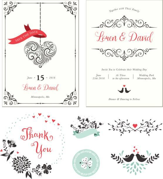 wedding set_01 - wedding invitation stock illustrations, clip art, cartoons, & icons