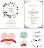 Ornate Wedding cards with typographic design, ornate heart shape, banner, birds, swirl frame, stickers, floral wreath and decorative branches. Vector illustration.