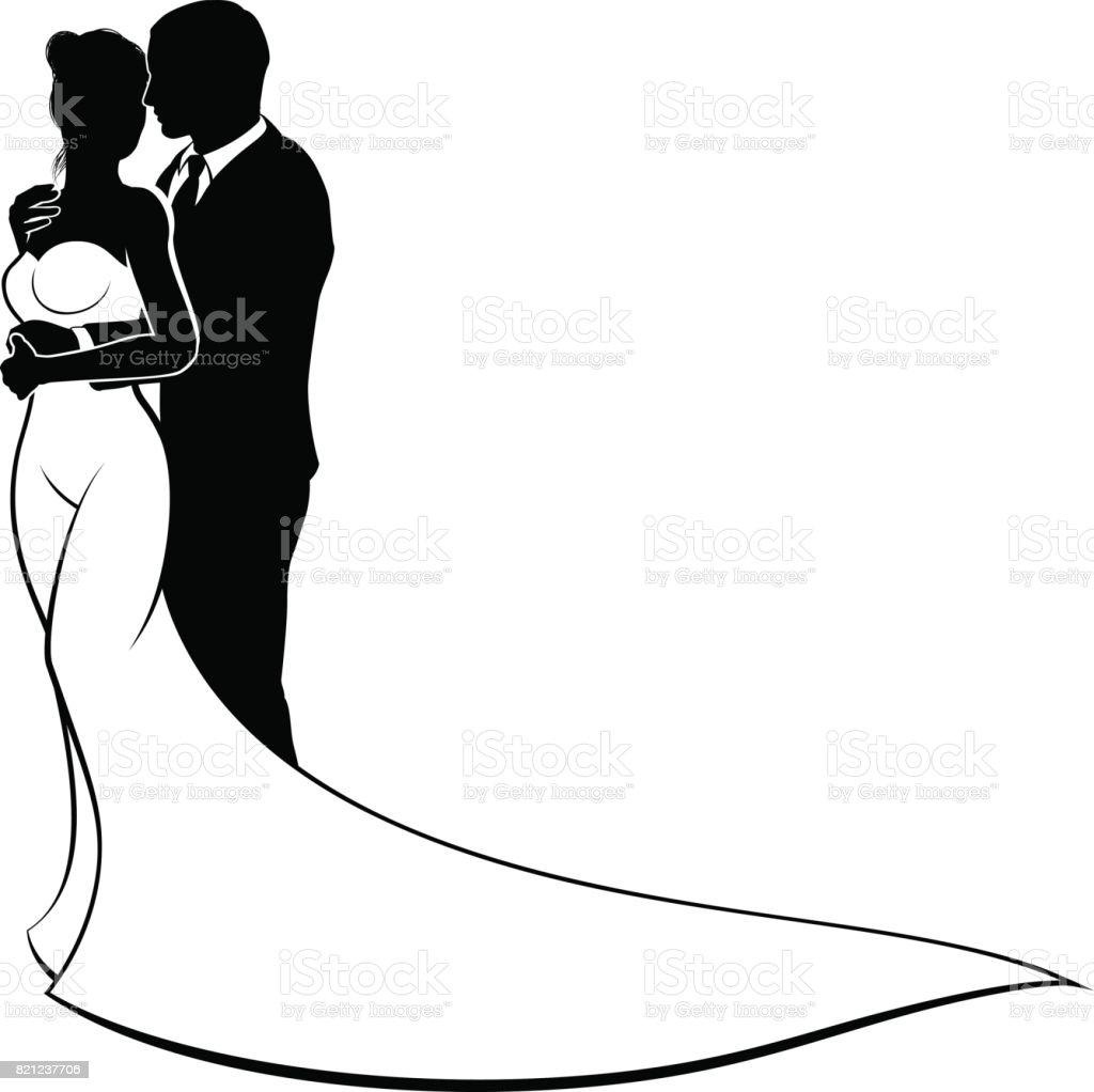 Wedding Silhouette Bride and Groom vector art illustration