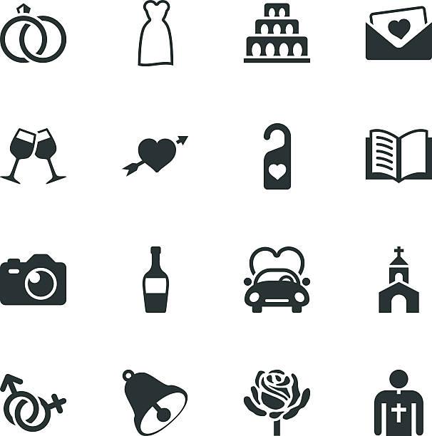 hochzeit silhouette icons - rosenhochzeitskleider stock-grafiken, -clipart, -cartoons und -symbole