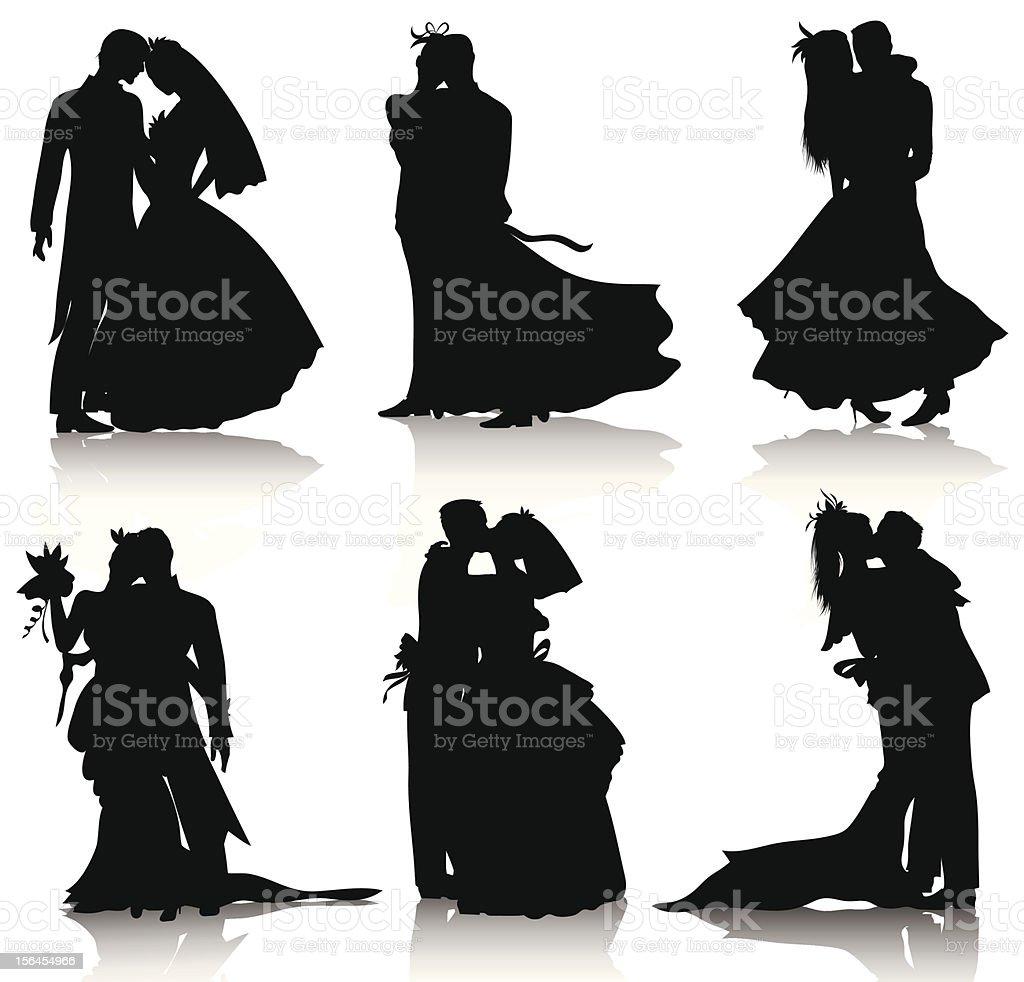 Wedding silhouettes vector art illustration