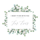 Wedding silver dollar eucalyptus horizontal vector design card. Rustic greenery. Mint, blue tones. Watercolor style frame. Mediterranean tree. All elements are isolated and editable