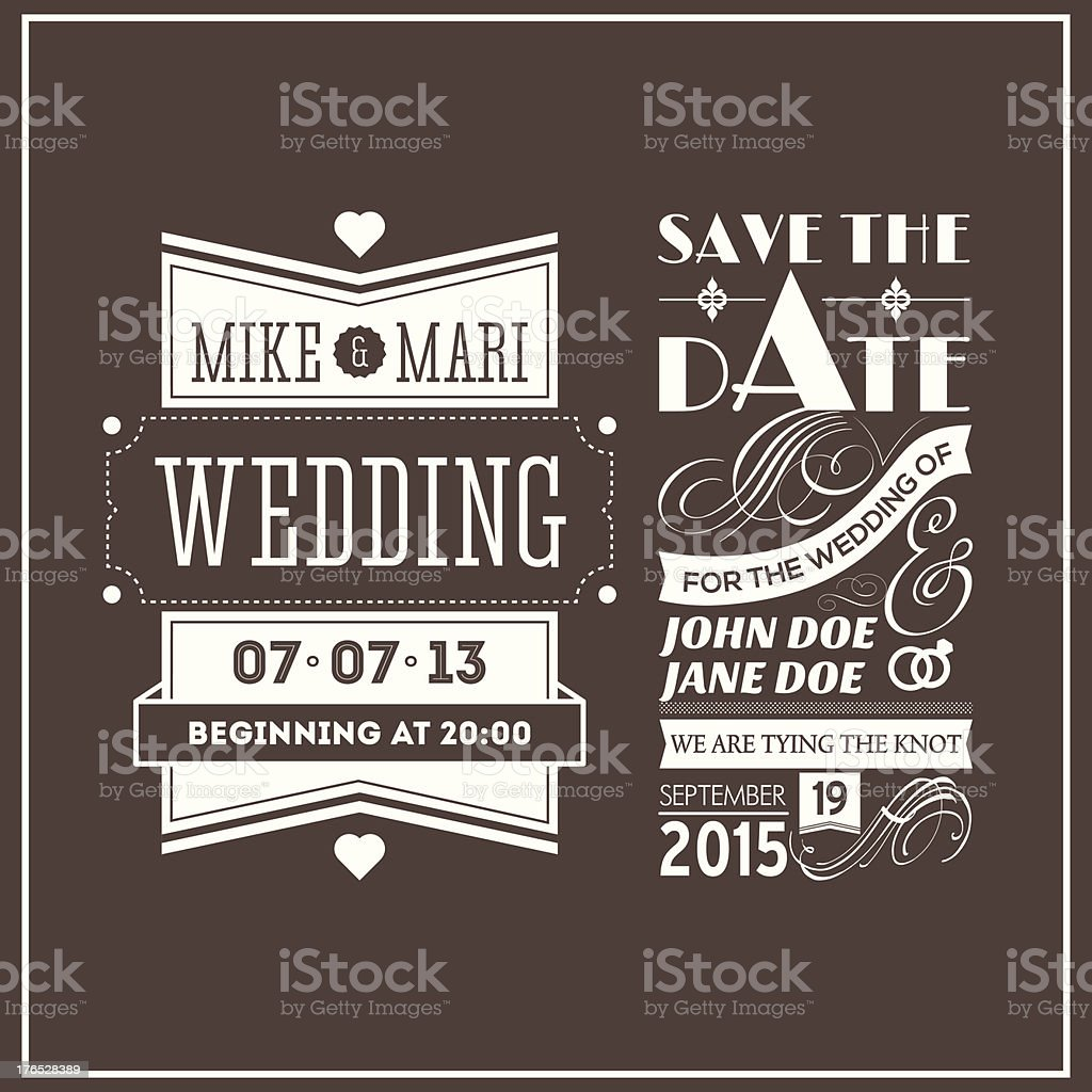 Wedding stamps brown vector art illustration
