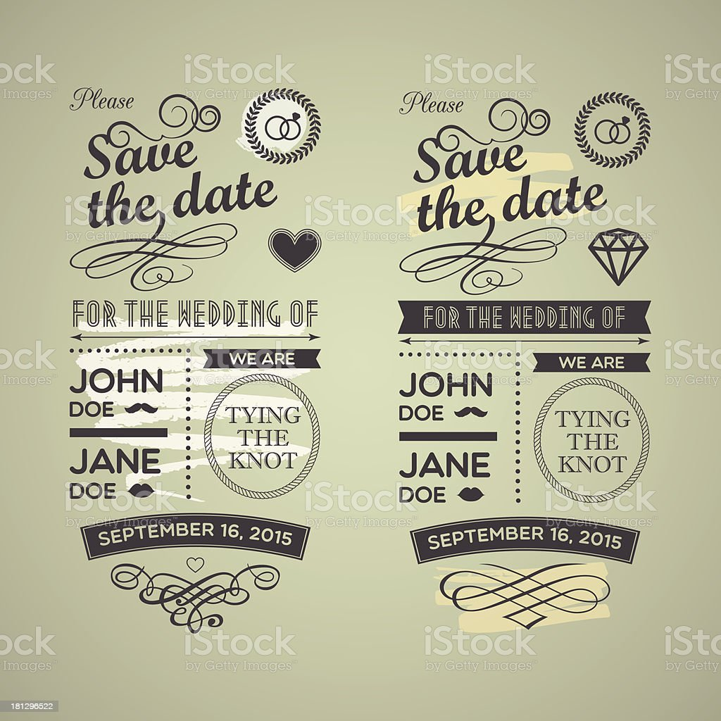 Wedding stamps green yellow royalty-free stock vector art